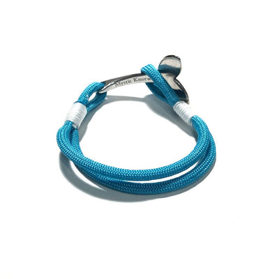 Nautical Knot Turquoise Nautical Whale Tail Bracelet Stainless Steel 016 handmade at Mystic Knotwork