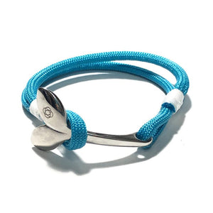 Turquoise Nautical Whale Tail Bracelet Stainless Steel 016