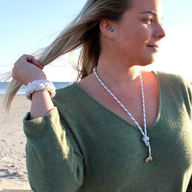 Blue Stripe Whale Tail Adjustable Necklace Stainless Steel 165 1