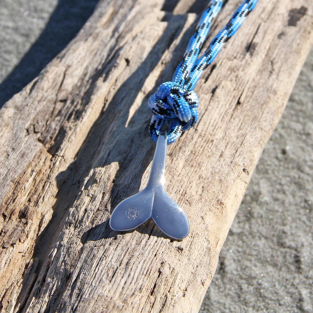 Blue Ice Whale Tail Adjustable Necklace Stainless Steel 074
