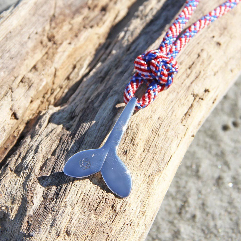 Patriotic Whale Tail Adjustable Necklace Stainless Steel 187