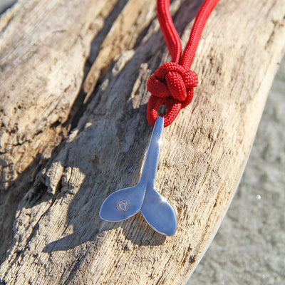 Red Whale Tail Adjustable Necklace Stainless Steel 028