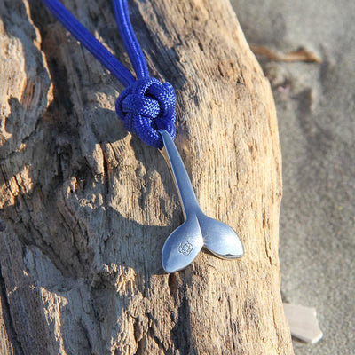 Royal Blue Whale Tail Adjustable Necklace Stainless Steel 029