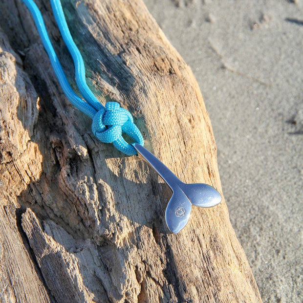 Turquoise Whale Tail Adjustable Necklace Stainless Steel 016 1