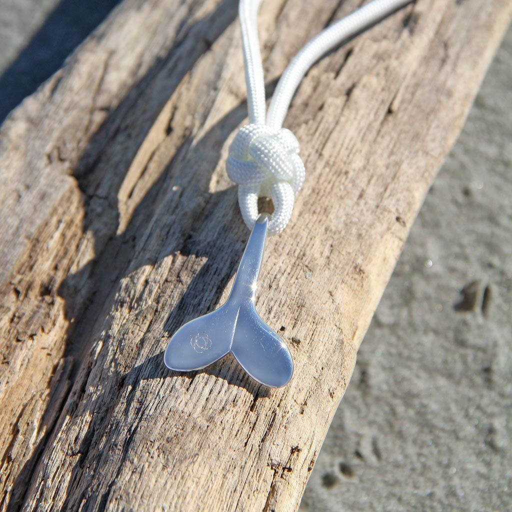 White Whale Tail Adjustable Necklace Stainless Steel 001