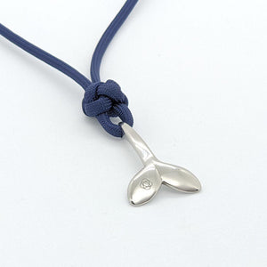 Navy Whale Tail Adjustable Necklace Stainless Steel 020