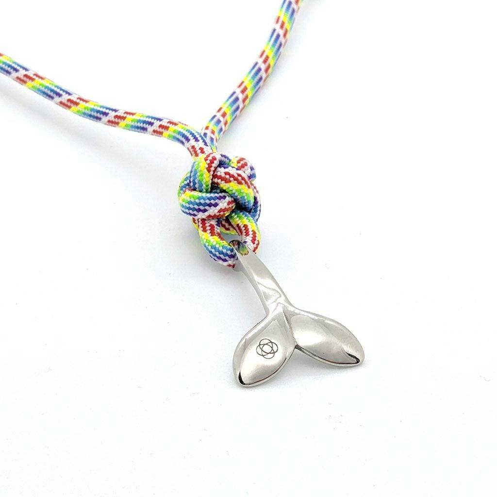 Rainbow Whale Tail Adjustable Necklace Stainless Steel 137