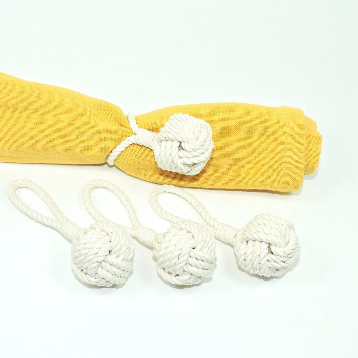 Monkey Fist Knot Napkin Rings, Set of Four - Mystic Knotwork nautical knot