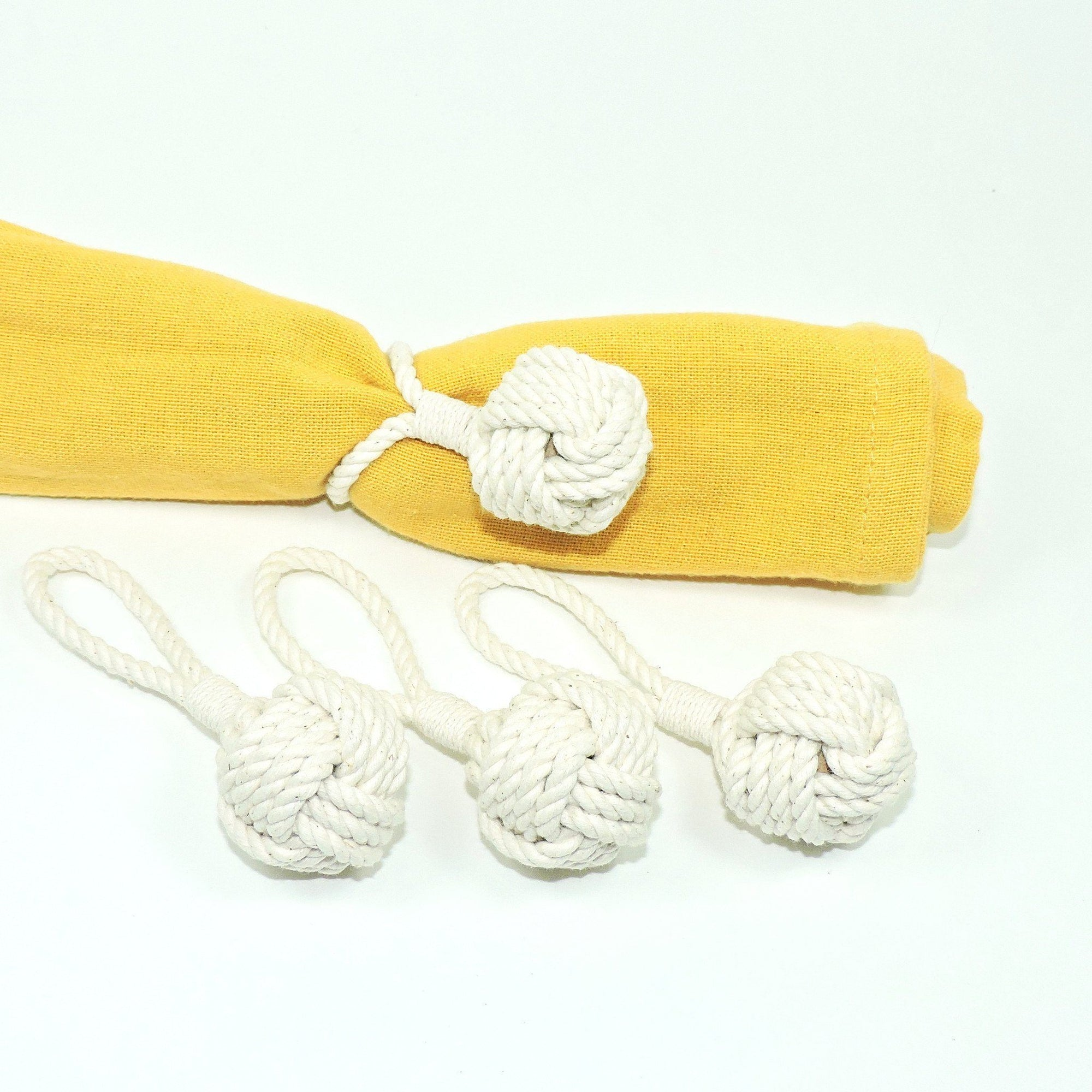 Nautical Knot Monkey Fist Knot Napkin Rings, Set of Four handmade at Mystic Knotwork