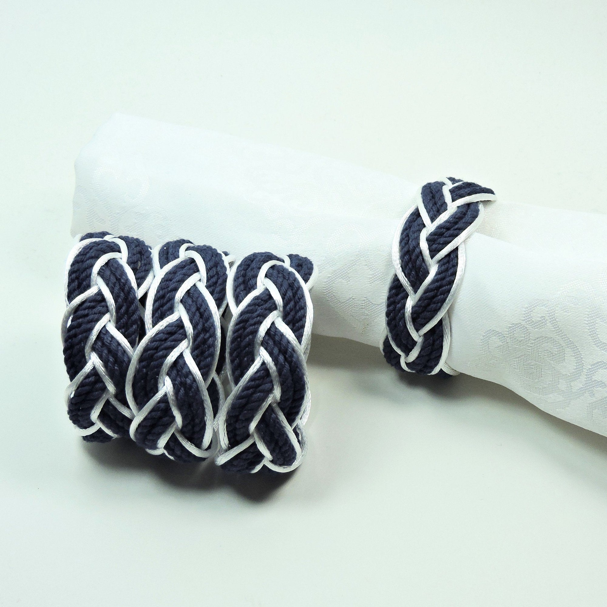 Nautical Sailor Knot Napkin Rings, Navy Outlined in White Satin, Set of 4 - Limited Edition! Handmade sailor knot American Made in Mystic, CT $ 20.00