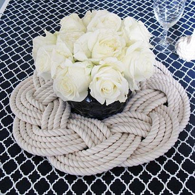 Sailor Knot Wreath or Centerpiece, White, w/ Frame