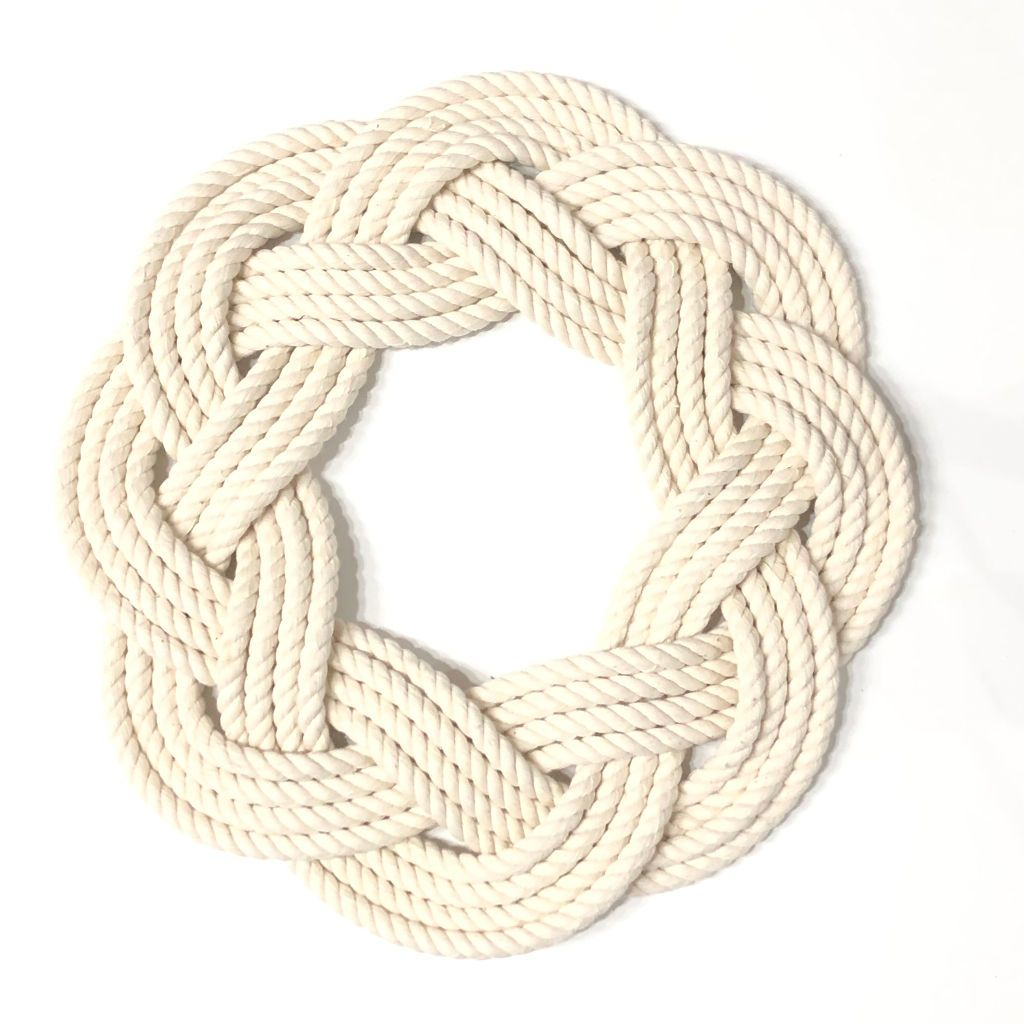Nautical Sailor Knot Wreath or Centerpiece, White Handmade sailor knot American Made in Mystic, CT $ 50.00