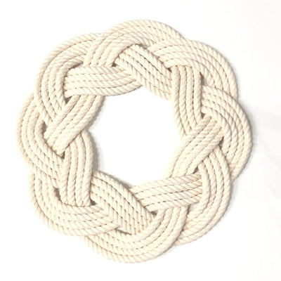 Nautical Knot Sailor Knot Wreath or Centerpiece, White handmade at Mystic Knotwork
