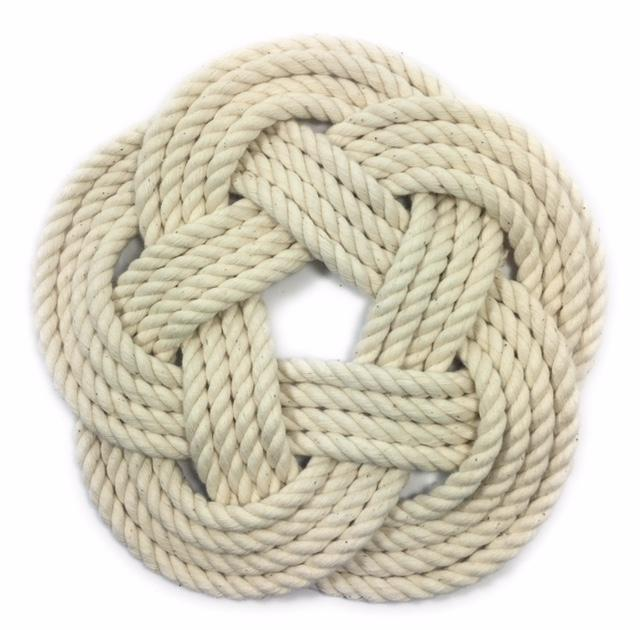 "10"" Nautical Sailor Knot Trivet, White Cotton Rope, Large"