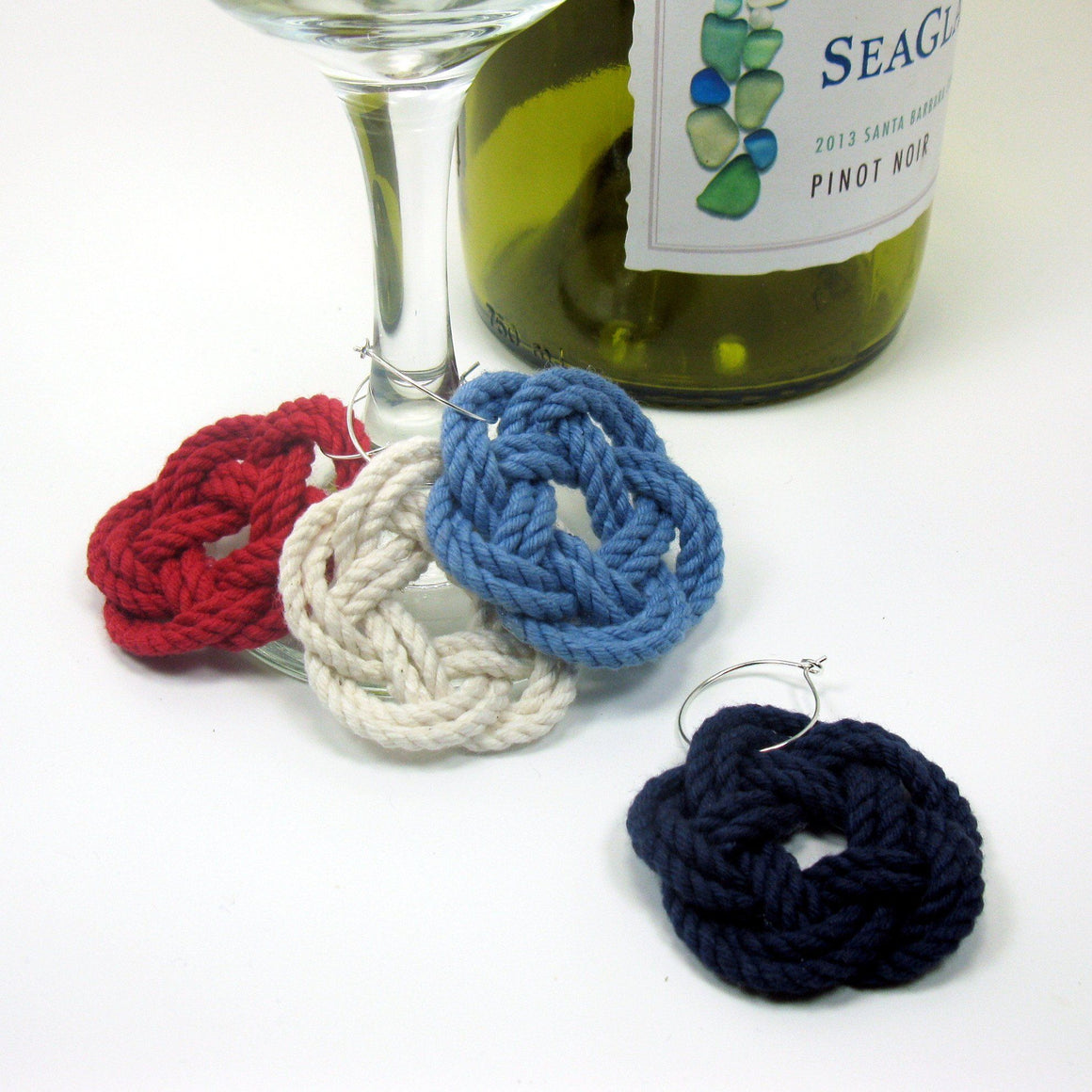 Sailor Knot Wine Charms, Nautical Colors - Mystic Knotwork nautical knot