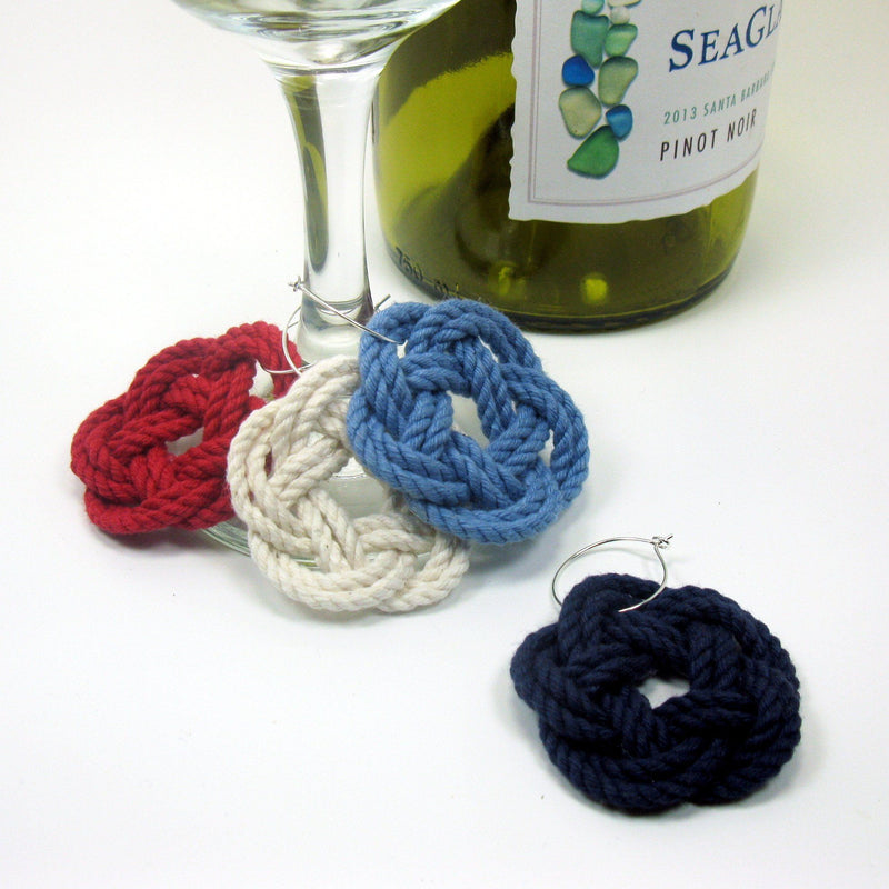 Nautical Sailor Knot Wine Charms, Nautical Colors Handmade sailor knot American Made in Mystic, CT $ 3.00