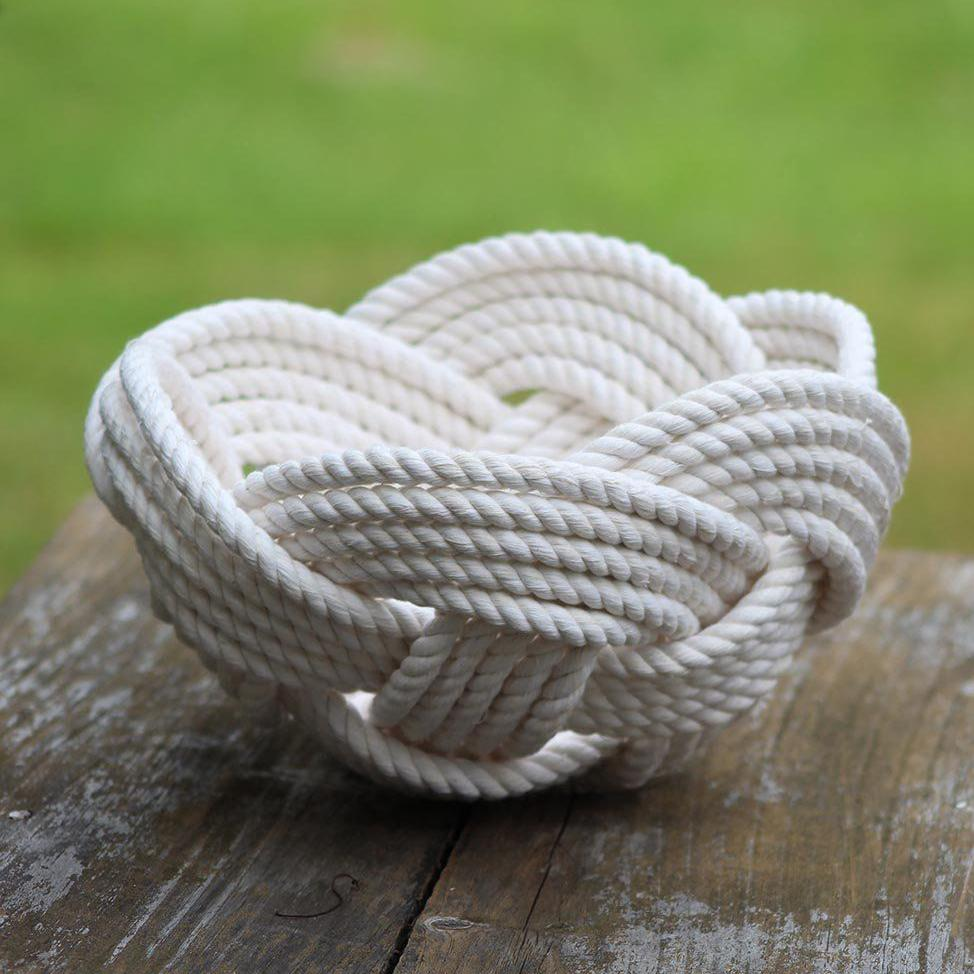Nautical Knot Celtic Knot Woven Cotton Bowl handmade at Mystic Knotwork