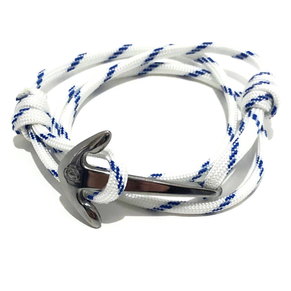Blue Stripe Adjustable Anchor Wrap Use as a Bracelet, Anklet, or Necklace 165