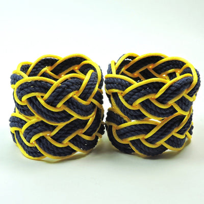 Nautical Knot Sailor Knot Napkin Rings, Navy Outlined in Yellow Satin, Set of 4 - Limited Edition! handmade at Mystic Knotwork