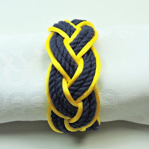 Sailor Knot Napkin Rings, Navy Outlined in Yellow Satin, Set of 4 - Limited Edition! - Mystic Knotwork nautical knot