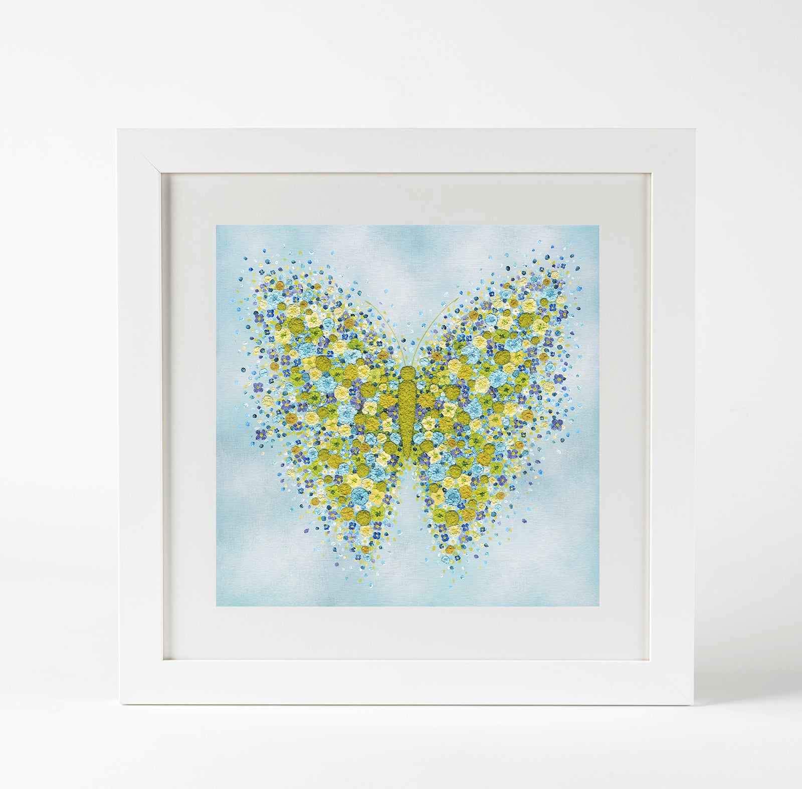 flutterly blue small framed prints alicoulterart