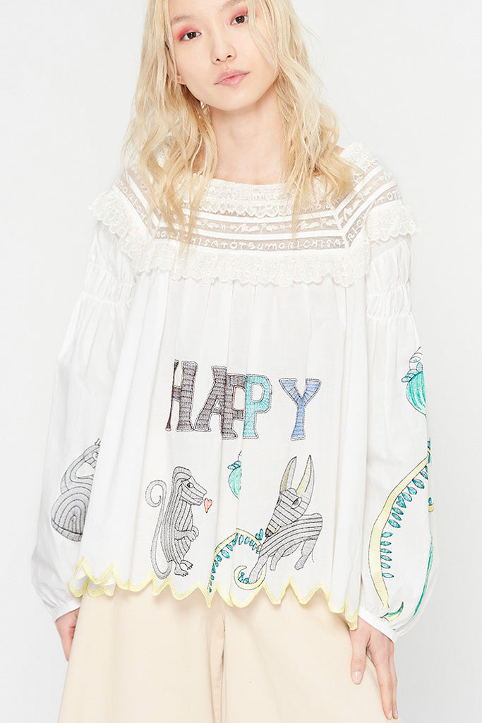 Happy Embroidery Blouse