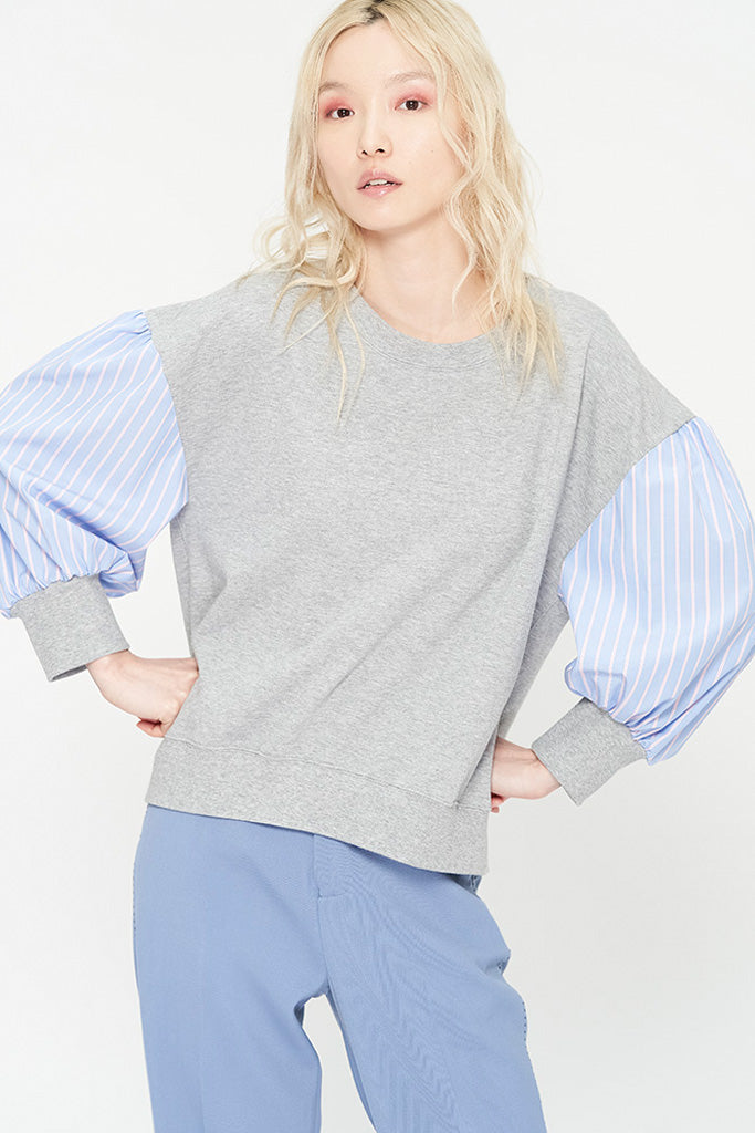 Striped Sleeves Sweatshirt