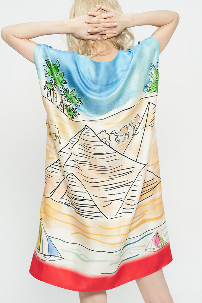 Egyptian Landscape Silk Dress