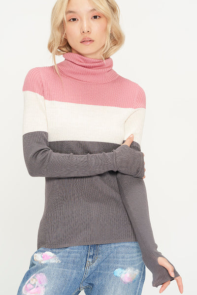 Colorblock Roll-Neck Sweater