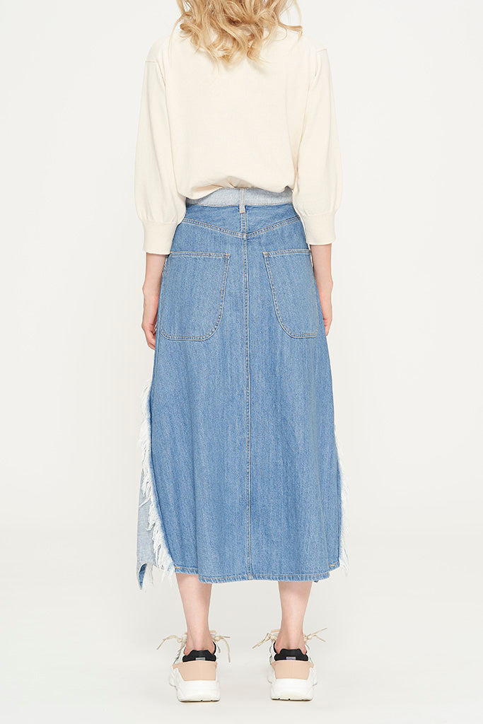Ribbon Denim Skirt