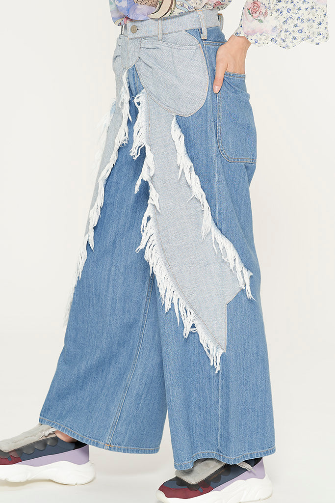 Ribbon Denim Pants