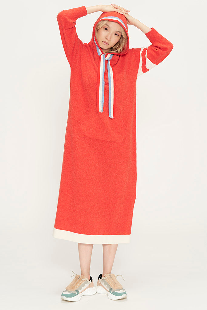 O&O Intarsia Hooded Dress
