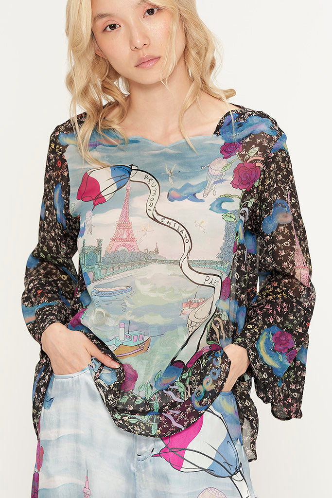 Romantic Paris Chiffon Blouse