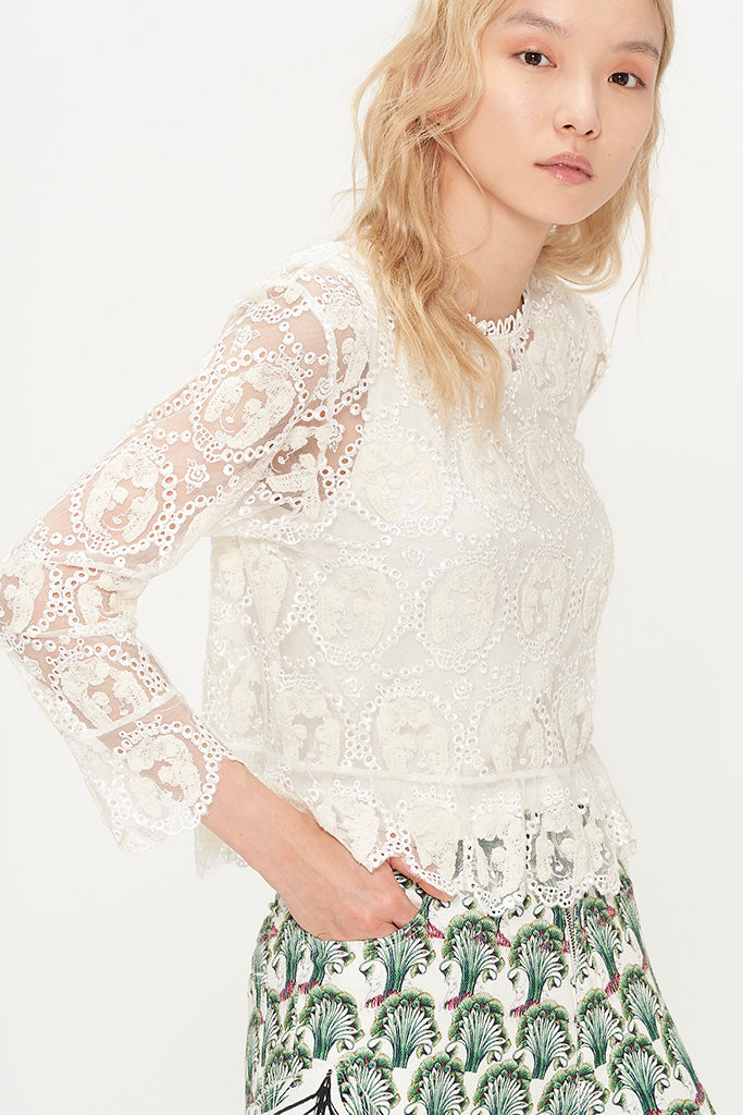 Embroidered Marie Tulle Blouse