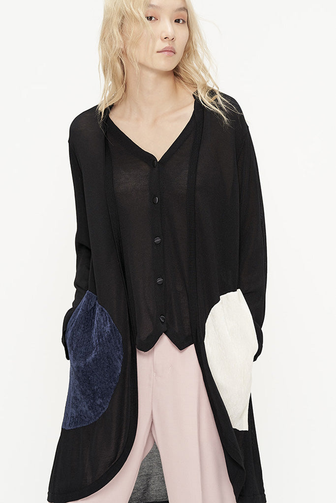 Colorblock Soft Knit Asymmetric Cardigan