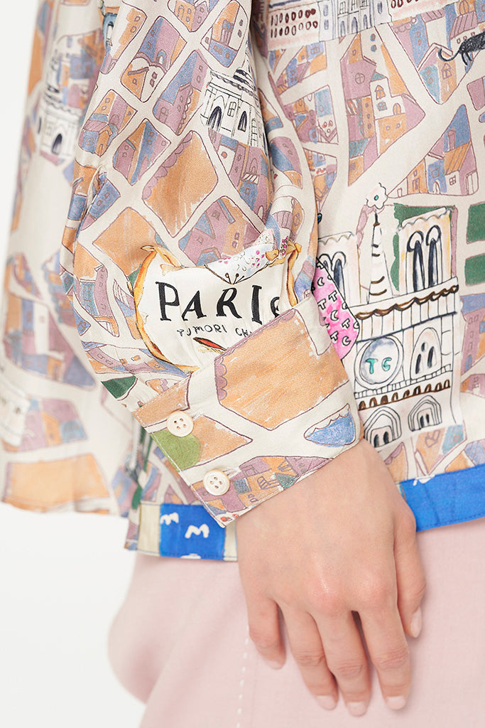 TC Paris Map Silk Blouse