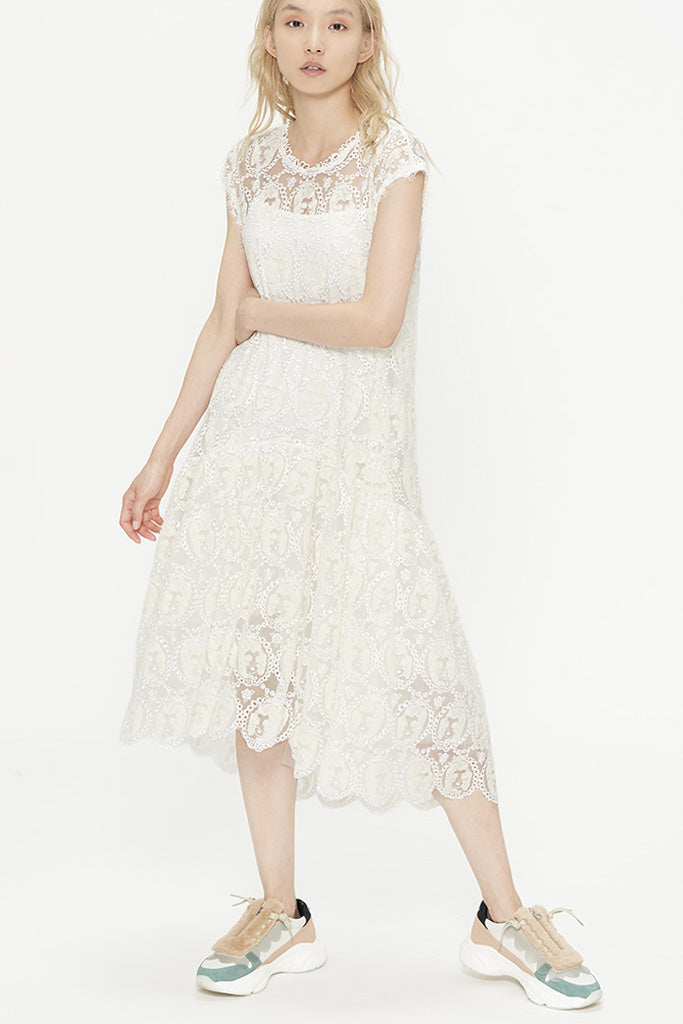 Embroidered Marie Tulle Cocktail Dress