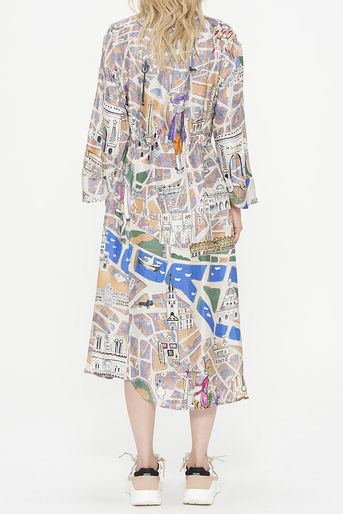 TC Paris Map Silk Dress