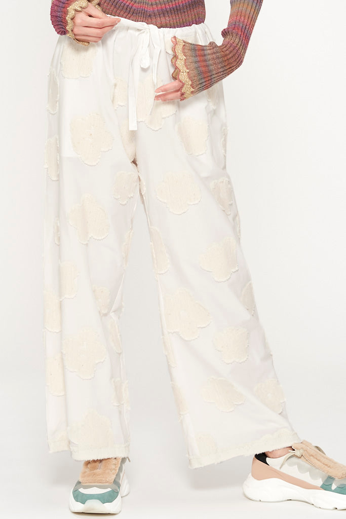 Fluffy Flower Jacquard Pants
