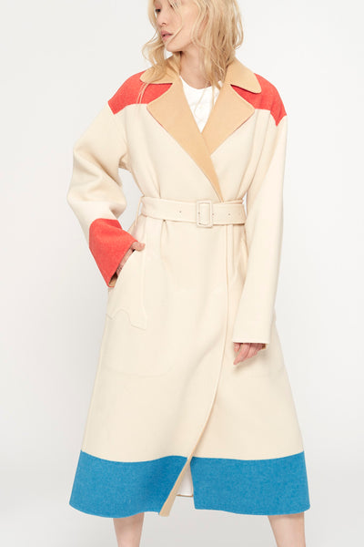 Colorblock Wool Coat