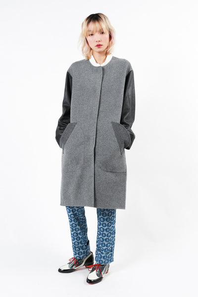 Leather Sleeves Wool Coat