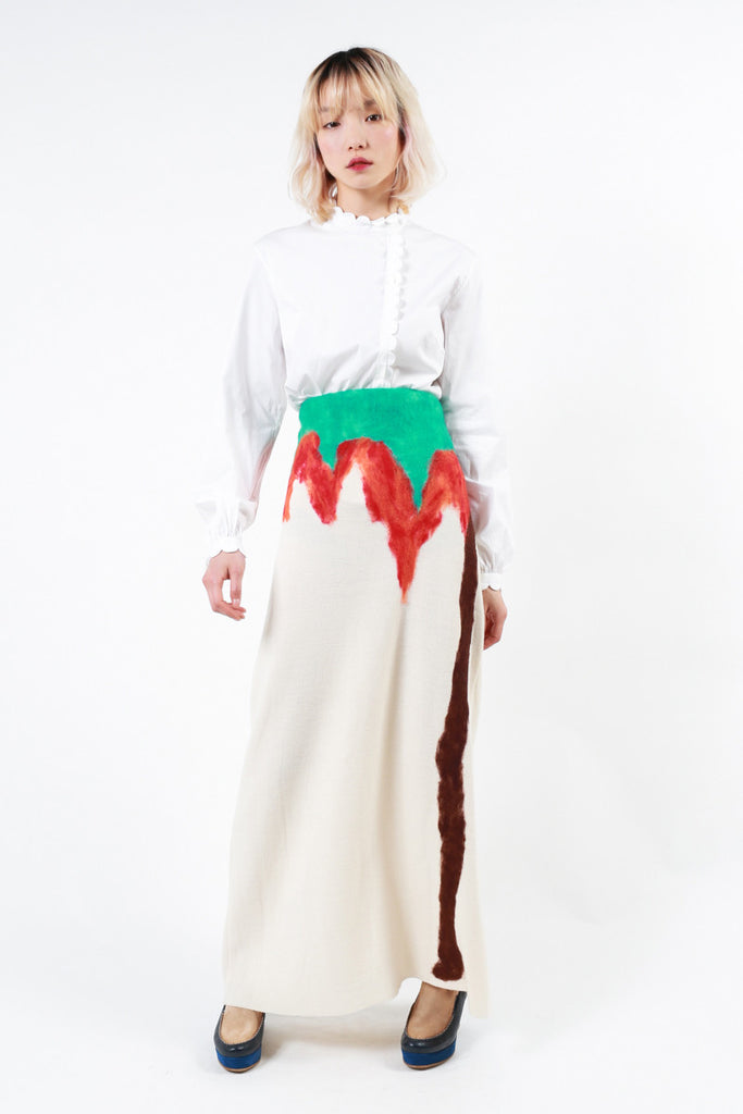 """Tie-Dye Palm Tree"" Wool Skirt"
