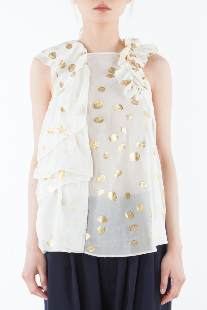 """Golden Coins"" sleeveless tunic"