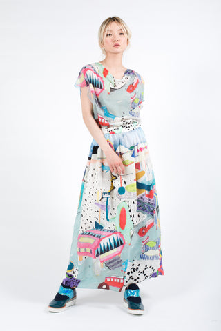 """Iceland Graffiti"" Silk Dress"