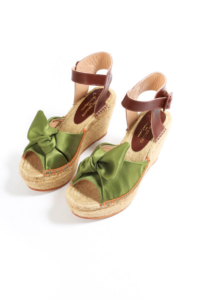 """Satin Knot"" Wedges Sandals"