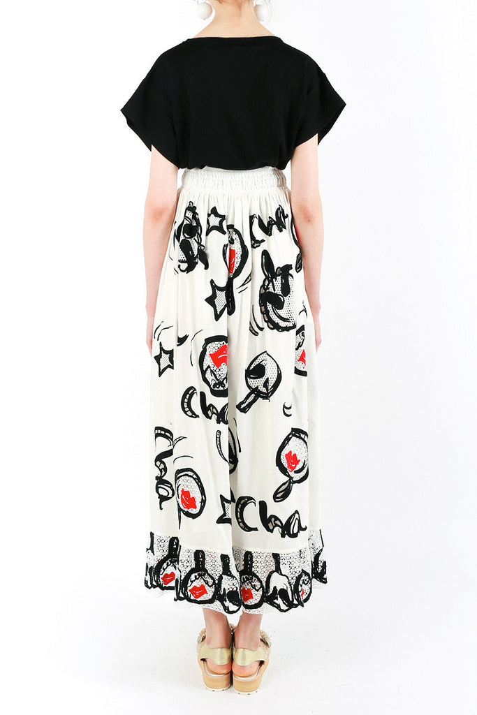 «Maracas Red Lips» Long Skirt