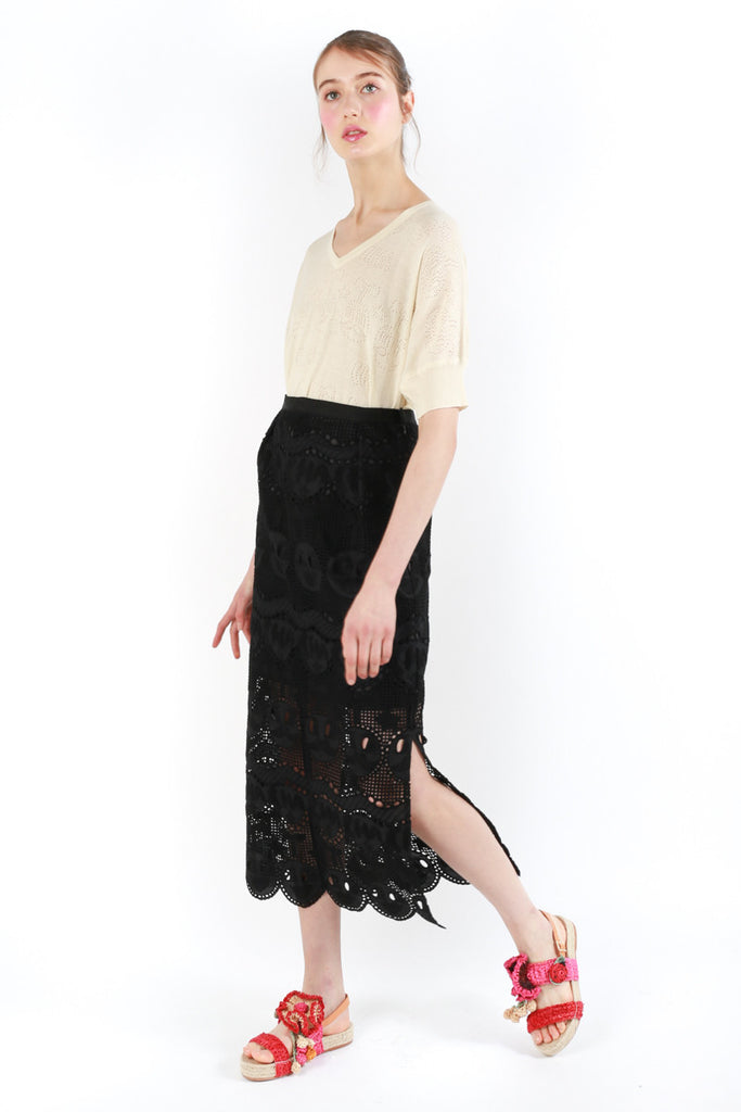 «Chachacha Maracas» Embroidered Long Skirt