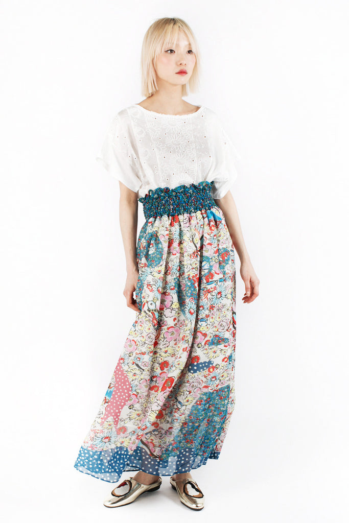 «Love Birds» Long Silk Skirt