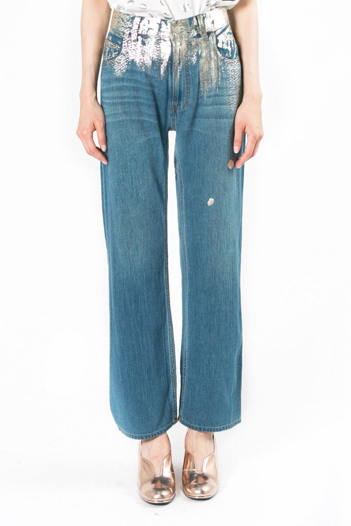 """Painted Denim"" Straight Pants"
