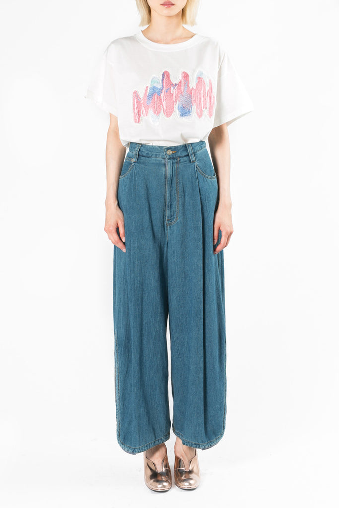 """Painted Denim"" Wide Pants"
